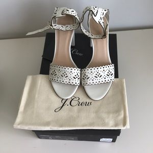 J Crew white high heel sandals, size 5.5. New!